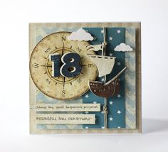 Birthday Numbers, Special Birthday, 18th, Clock, Manly Man, Cards, Handmade, Scrapbooking, Sea
