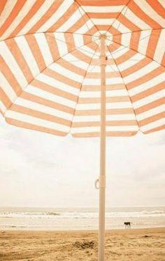 Orange striped beach umbrella takes us straight into French Riviera holiday mode Summer Dream, Summer Of Love, Summer Beach, Summer Time, Summer Colors, Seaside Style, Orange Aesthetic, I Love The Beach, Beach Umbrella