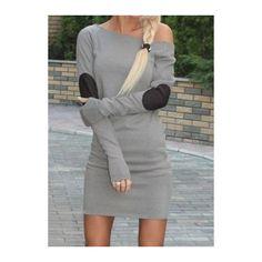 Grey Skew Neck Long Sleeve Mini Dress (€16) ❤ liked on Polyvore featuring dresses, grey, grey dress, sleeve dress, gray mini dress, mini dress and short gray dresses