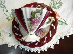 Vintage Tea Cup Napco Pearlized Footed Teacup and Reticulated Saucer Made in Japan 2994