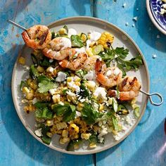 Mexican Elote Salad with Shrimp. -sour cream, lime, salt, cayenne, corn, poblano peppers. Grill corn & peppers 8 min, rotating 4 times. Grill shrimp (oil & cayenne) 2 min per side. Toss everything together