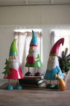Painted Metal Whimsy Santas Set/3