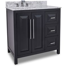 This 36 inch Black Finish Single Sink Bathroom Vanity Carrera Marble Countertop, large cabinet with adjustable shelf and set bank of drawers gives this vanity ample storage. Features 2cm carrera white marble top. Fitted with soft close hinges and full extention undermount soft close drawer slides.