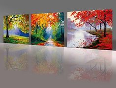 Nuolan Art - Framed Ready to Hang 3 Panels Modern Landscape Canvas Print Wall Art - UK-P3L3040-005