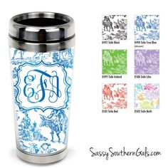 Monogrammed Travel Tumbler, Personalized Coffee Tumbler on www.SassySouthernGals.com Toile Print