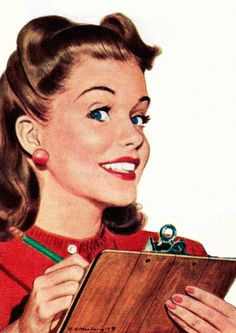 """""""An Organized Housewife 'Always' Uses A Clipboard"""" - Greyhound Ad Vintage Humor, Retro Humor, Images Vintage, Retro Images, 1950 Pinup, 1950s, Vintage Ladies, Retro Vintage, Vintage Toys"""