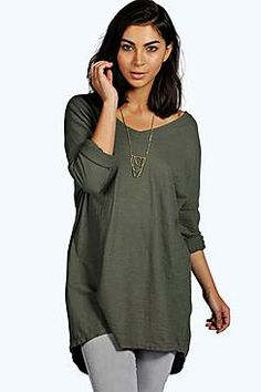 Ina Oversized V Neck Jersey T-Shirt