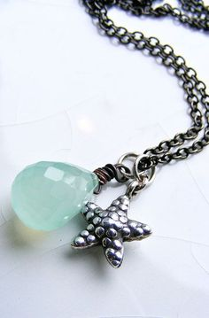 Aqua Tear Necklace with Starfish Charm