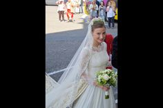 parismatch:  Bride Countess Caroline von Neipperg on her wedding day to Count Philippe de Limburg Stirum in Saint-Émilion, France, May 23, 2015