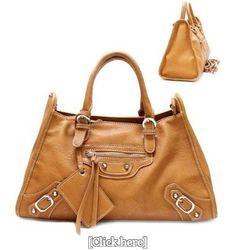Balenciaga Style Belt Stud Mirror Purse and Bag / Handbag/ Tan/ Rchmat003tan