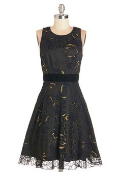 Night of Note Dress - Long, Woven, Tulle, Black, Gold, Floral, Cutout, Party, Cocktail, Holiday Party, A-line, Sleeveless