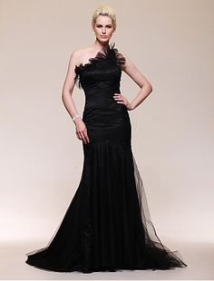 Cheap Satin Tulle Trumpet/Mermaid One Shoulder Sweep Train Celebrity Dress inspired by Julia Stiles at Golden Globe Award Free Measurement