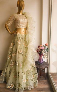 Lime Organza Lehenga with Ruffle Dupatta Kurta Designs, Blouse Designs, Indian Designer Outfits, Designer Dresses, Indian Dresses, Indian Outfits, Kerala Engagement Dress, Indian Bridal Fashion, Bridal Lehenga