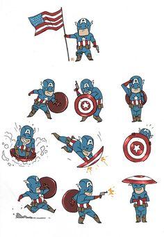 Chibi Captain America makes my heat smile Logan Wolverine, Marvel Comics, Marvel Avengers, Spiderman, Batman, Punisher, Bucky, Game Design, Caption America