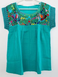 embroidered turquoise mexican blouse made in by ChiapasbyJUBEL