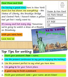 A2 | Look at the postcard from New York and do the exercises to improve your writing skills