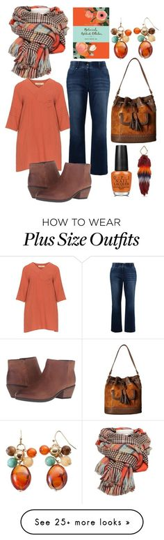 """plus size fall"" by aleger-1 on Polyvore featuring Isolde Roth, Ulla Popken, Clarks, American West, OPI, FOSSIL and Chronicle Books"