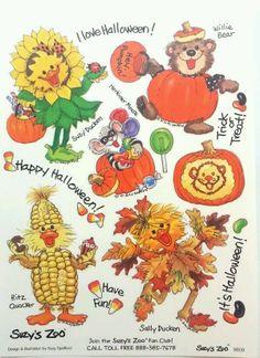 Vintage Suzy's Zoo Happy Halloween Sticker Sheet