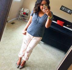 Blush Pink Distressed Boyfriend Jeans + Wifey Tee