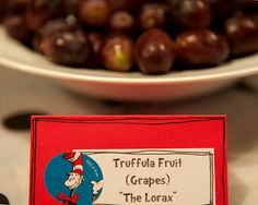 "Maybe grapes or fruit salad for Truffuta Fruit from ""the lorax""?"