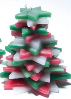 Kaars van gestapelde sterren gemaakt voor een constructiebedrijf die zijn relaties een kerstgeschenk gaf.