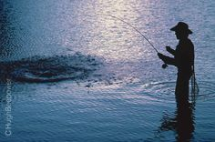 www.beebower.com    On a 10 day packhorse scouting trip in the Rocky Mountains, Hugh came across this glacier-fed lake.  He knew it would be the perfect setting for a fishing photo.  Hugh's model put on some waders and jumped in the frigid lake.  Hugh waited for the light to silhouette his fisherman and snapped this image and moved on down the trail.  #westernphotography  #fishingphotography  #fishing  #fisherman  #new mexico