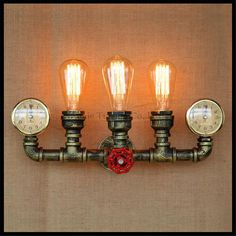 Steam punk Loft Industrial iron rust Water pipe retro wall lamp Vintage E27 sconce lights for living room bedroom restaurant bar