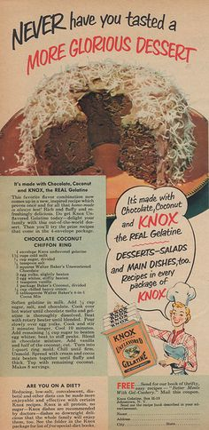 Knox Gelatine - 1951 - So glad cake baking has evolved since 1951