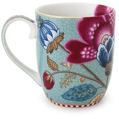Pip Studio Fantasy Blue Mug - Large (198.270 IDR) ❤ liked on Polyvore featuring home, kitchen & dining, drinkware, blue, blue mug, pip studio, floral mugs, porcelain mugs and blue drinkware