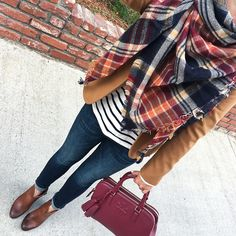 plaid heritage scarf, Camel schoolboy blazer, striped long sleeve tee, Tory Burch thea double zip satchel, Vince Camuto Franell western booties, Banana Republic Indigo Skinny Ankle Jeans, fall outfit, winter fashion, petite outfits, casual outfit, layering outfit - click the photo for outfit details!