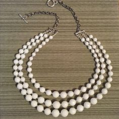 White Stone 3-Strand Multi-Strand Necklace