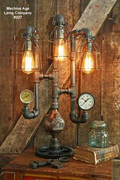 Steampunk Industrial Lamp, Steam Gauge, Design #227