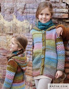 pattern knit crochet kids jacket autumn winter katia 6951 2 g Knitting For Kids, Crochet For Kids, Baby Knitting, Knit Crochet, Winter Kids, Fall Winter, Catalogue Katia, Knit Cardigan Pattern, Knitted Baby Clothes