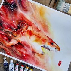"""PARALAX""  Watercolors on Canson Montval size 29,7x42,0cm 300gsm.  Good morning & happy Monday. #watercolor #watercolour #shark #galaxy #illustration #painting by #jongkie"