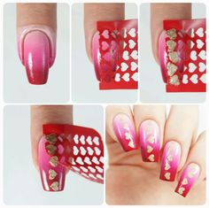 How to create fun Mini heart accent nails using our Heart Nail Stencils found at snailvinyls.com