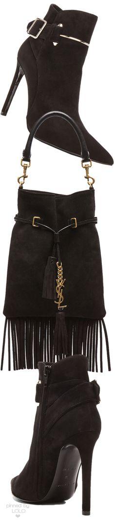 Saint Laurent Fringe Bucket Bag and Balenciaga Boots |  LOLO❤︎