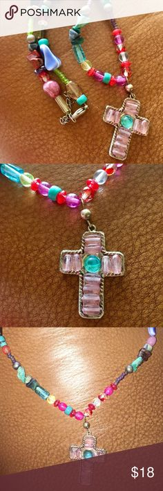 Super cute handmade beaded cross necklace Original and one of a kind handmade beaded necklace with sterling cross. unknown Jewelry Necklaces
