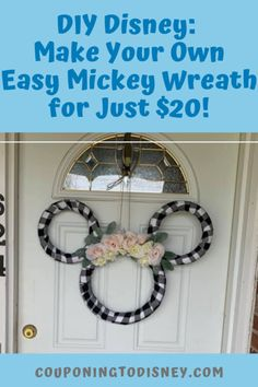 DIY Disney: Make Your Own Easy Mickey Wreath for $20! Disney Diy, Disney Crafts, Silk Roses, Silk Flowers, Mickey Wreath, Amazing Crafts, Wreath Forms, Make Your Own, How To Make
