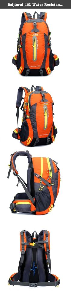Baijinrui 40L Water Resistant Hiking Bag / Camping Backpack / Travel Daypack / Casual Backpack for Outdoor Climbing (Orange). Summary: The main compartment is designed with double zippers providing more space. Clothing, laptop, magazine, shoes, power bank, towels, all in one. Our clever front pouch can be used to store smaller & portable items for better organization and access. Use the exterior top pouch to access items quickly such as your cell phone, sun block, digital camera, and etc…