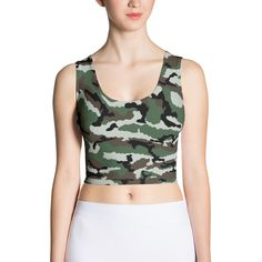 French Central Europe Camo Sublimation Cut & Sew Crop Top