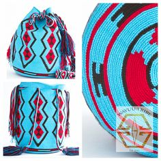 These bags are known as the Susu bag to the Wayuu people. The average bag takes 10-20 days to hand weave. All bags are Handmade. Wayuu people are use bight different colors and patterns to tell the story of  the weaver. #HANDMADE #mochila