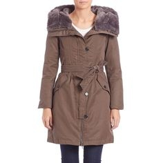 Weekend Max Mara Augusta Faux Fur-Trimmed Puffer Coat (€945) ❤ liked on Polyvore featuring outerwear, coats, apparel & accessories, khaki, tie belt, puffer coat, puff coat, faux coat and hooded puffer coat