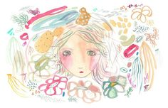 Garden girl print abstract modern art colorful by Coramantic