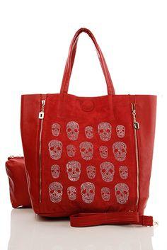 Mixed Skulls Embellished 2-In-1 Red Bag