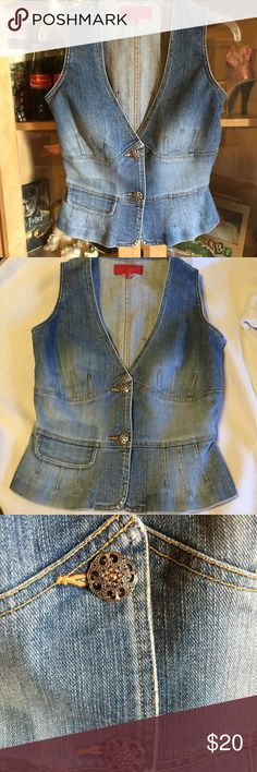 Vintage denim vest French Connection FCUK denim vest. Adorable buttons. Good used vintage condition. We are a non smoking home. Any questions please ask. FCUK brand of French Connection French Connection Jackets & Coats Vests