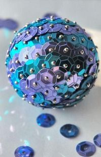 diy christmas tree ornaments blue sequins pins foam ball.  Would use red or silver sequins!