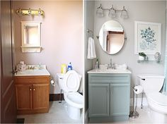 Bathroom / Powder Room Makeover - Before and After.