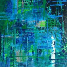 """RAINFOREST"" Heavily textured original abstract artwork made up of blues, greens and silver leaf http://www.hannahvanbergen.co.uk/abstract/362557_rainforest.html"
