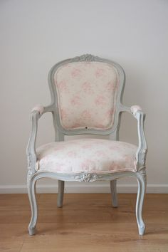 Bespoke Louis Style Armchair in your choice of fabric and paint - Shown in Peony and Sage 'Millie' and Annie Sloan Paris Grey