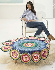 Mandalas are not just for coloring books! Mindful Mandala Afghans from Leisure Arts presents a collection of artful crochet afghans with mandala-inspired designs in vibrant colors. Each afghan incorporates an exciting color mix of Vanna's Choice yarn from Mandala Blanket, Blanket Shawl, Crochet Mandela, Afghan Crochet Patterns, Crochet Afghans, Crocheting Patterns, Fingerless Gloves Crochet Pattern, Free Pattern Download, Crochet Lion